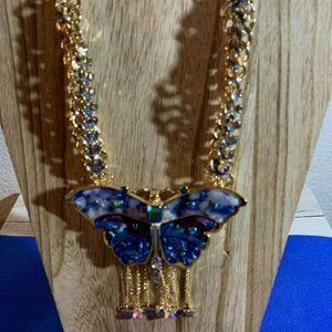 Betsey Johnson Large Stone Butterfly Necklace